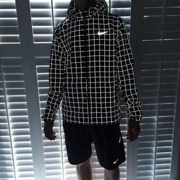jacket nike sweater glow in the dark sportswear plaid jacket
