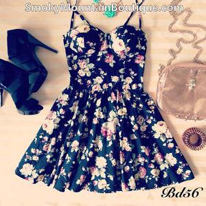 Midnight Romance Black Floral Bustier Dress with Adjustable Straps Size XS s M | eBay