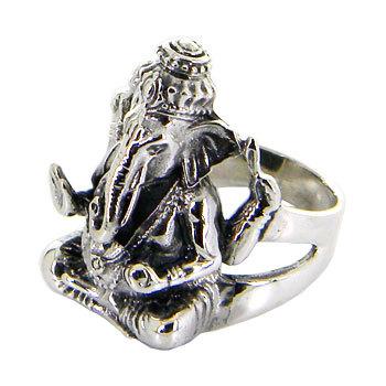 Lord Ganesh Idol Sterling silver ring/ Black door jewelkingthai