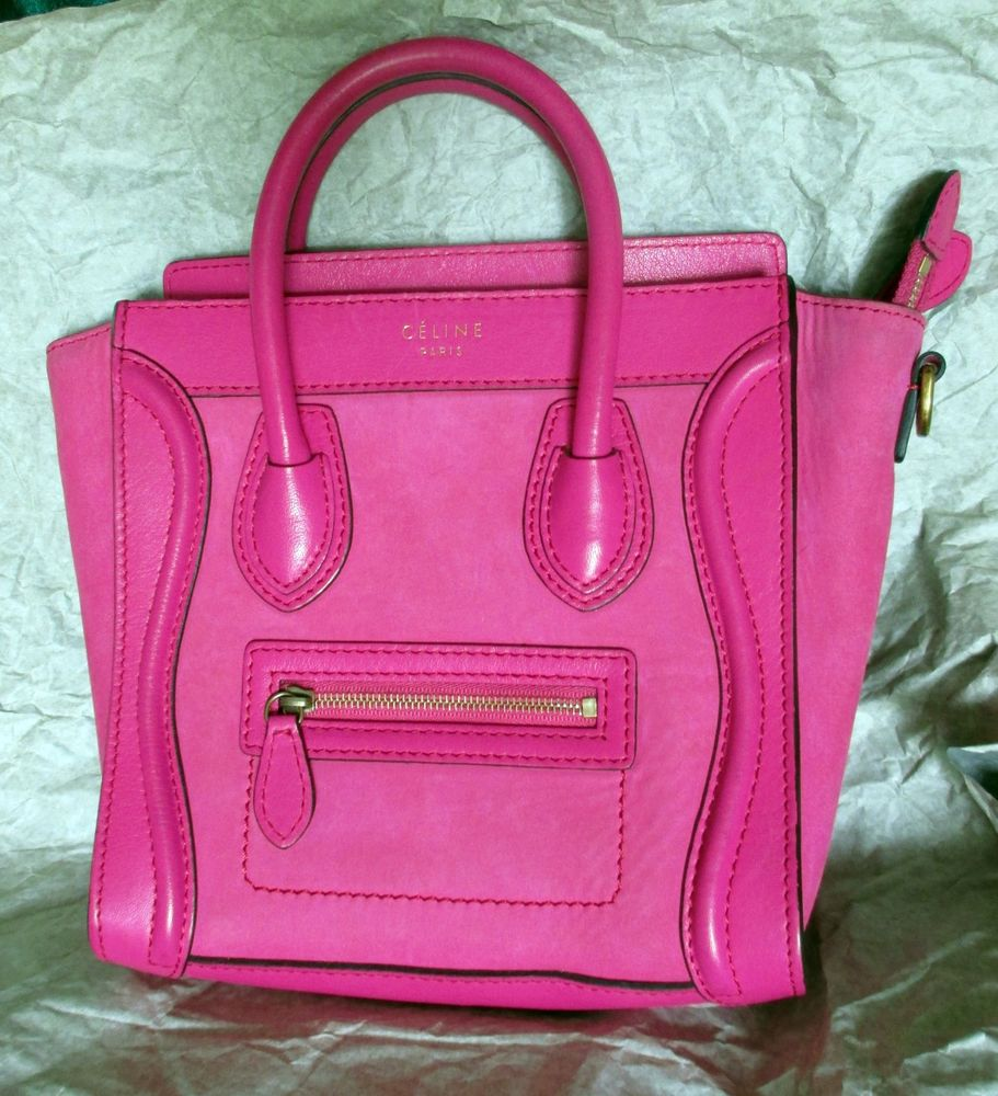 Celine Mini Luggage Fluo Pink Smooth and Suede Leather Combo 100 Authentic | eBay