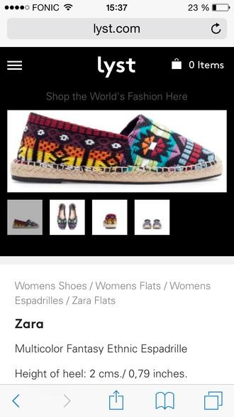 shoes zara shoes espadrilles multicolor ethnic boho indie indie boho summer shoes