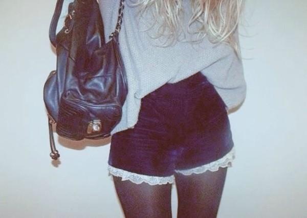 shorts blue velvet navy velvet shorts lace lace trim lace trim shorts white lace sweater grey sweater grey grey sweater grey sweater gray and blue High waisted shorts bag cute trim shirt dark kawaii