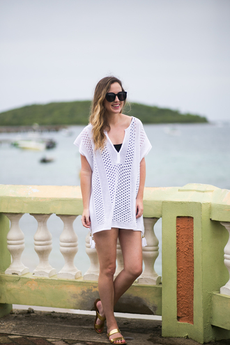 miami + dallas based lifestyle and fashion blog blogger sweater shorts shoes sunglasses white dress t-shirt dress flat sandals white top see through mesh mesh dress flats