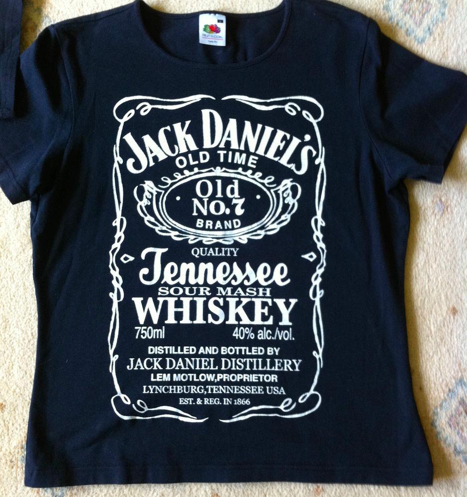 Fruit of the loom Ladies Jack Daniels black T-Shirt Size L lady fit 34/36 bust M   eBay