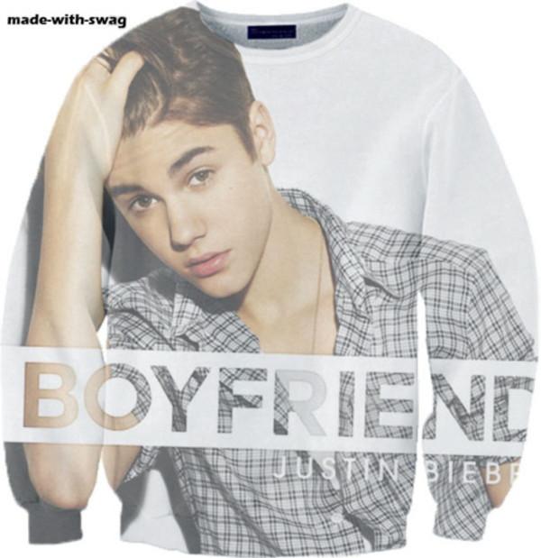 sweater justin bieber justin bieber belieber believe boyfriend sweater white grey checkered checkered