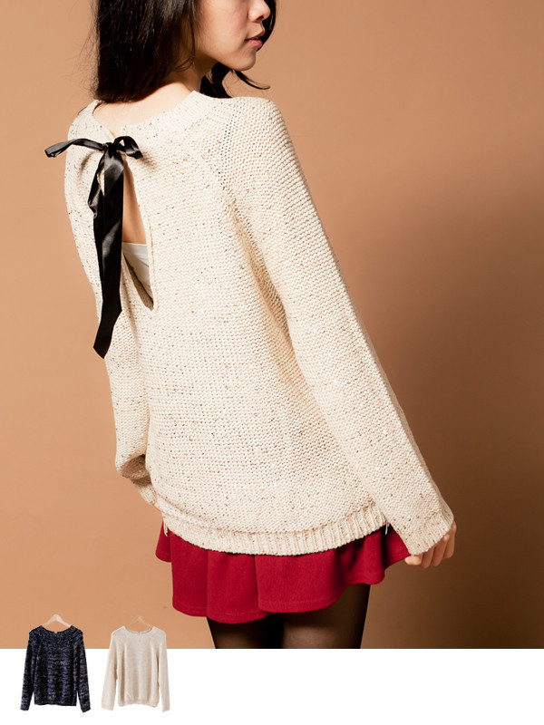 Bow Tie Surprise Knit Top - Mexy  - Style that fits you.