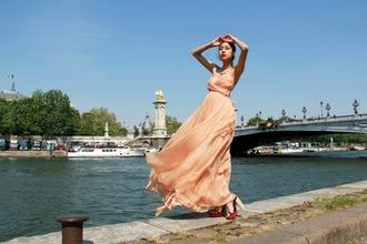 chic muse denni maxi pink dress orange dress dress