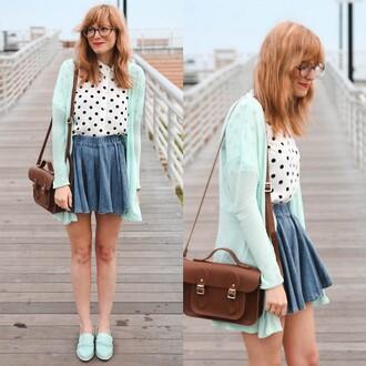 bag brown satchel purse handbag shirt blouse cardigan jacket skirt shoes glasses top girly cute pretty outfit tumblr polka dots white black white and black tshirt denim blue light nerd