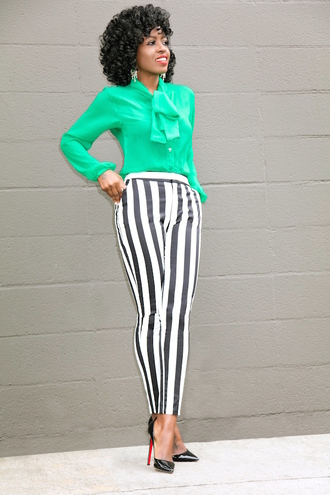 blogger blouse pants shoes green blouse striped pants pumps high heel pumps