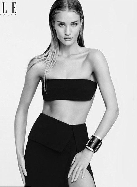 rosie huntington-whiteley editorial slit skirt bandeau skirt