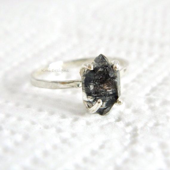 Black Diamond Engagement Ring Herkimer Diamond by camilaestrella