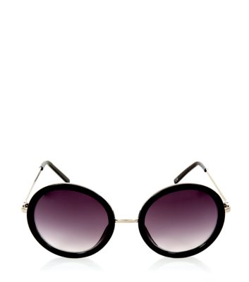 Black and Gold Round Frame Sunglasses