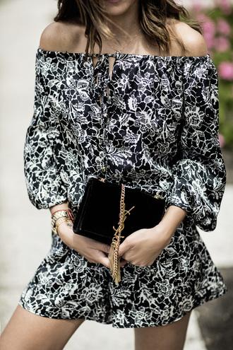 lovely pepa blogger bag shoes off the shoulder romper long sleeves yves saint laurent black bag mini bag floral floral romper