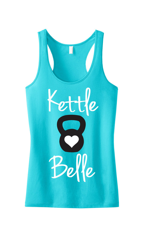 Kettle Belle Teal Workout Tank Top Workout by NobullWomanApparel