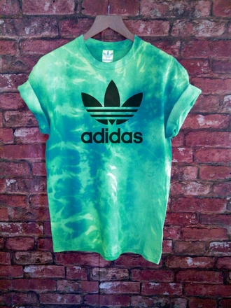 green adidas tie dye t-shirt hipster shirt hippie water cool blouse tie dye shirt grunge colorful girl swag rider skirt adidas roller up sleeve tiy diy addidas shirt teal turquoise fashion adidas goal green shirt turquoise shirt dégradé adidas originals adidas shirt mint etsy blue cute green t-shirt dye tie