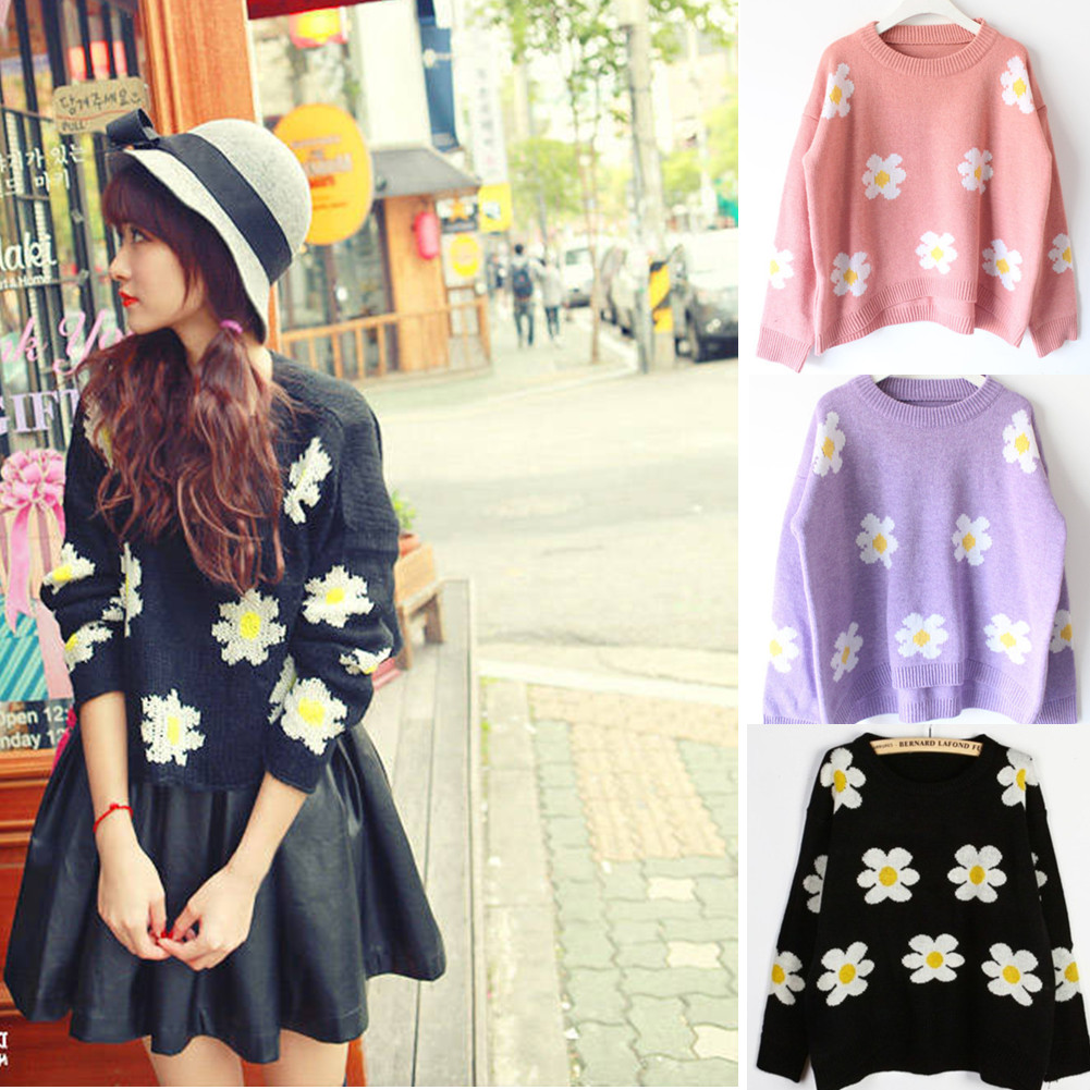 Blouse Loose O Neck Black Ladies Daisy Sunflower Short Sweater Coat Top Jumper   eBay