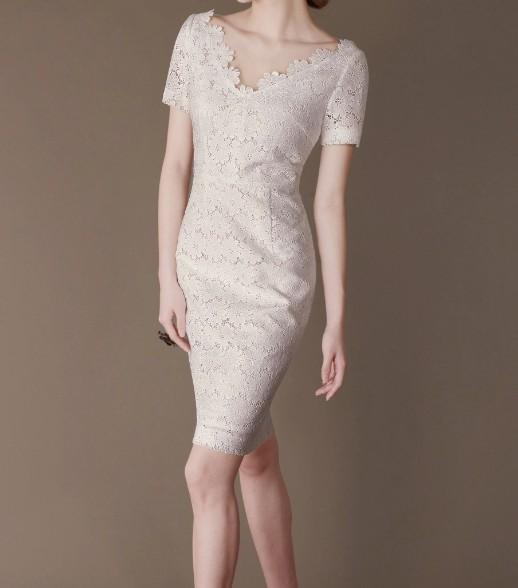 White Lace Elegant Noble Summer OL Slim Women Fashion Dress lml7046 - ott-123 - Global Online Shopping for Dresses