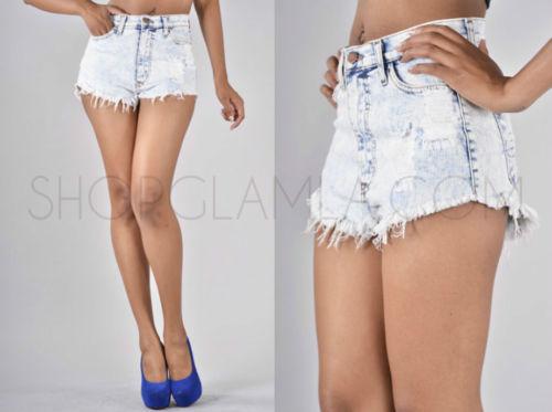 High Waist Acid Wash Baggy Denim Destroyed Cut Off 80's Shorts Pants P90 s M L | eBay