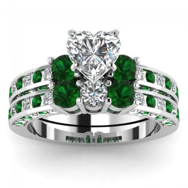 Well-liked jewels, jewelry, evolees, women fashion ring set, emerald bridal  FX75