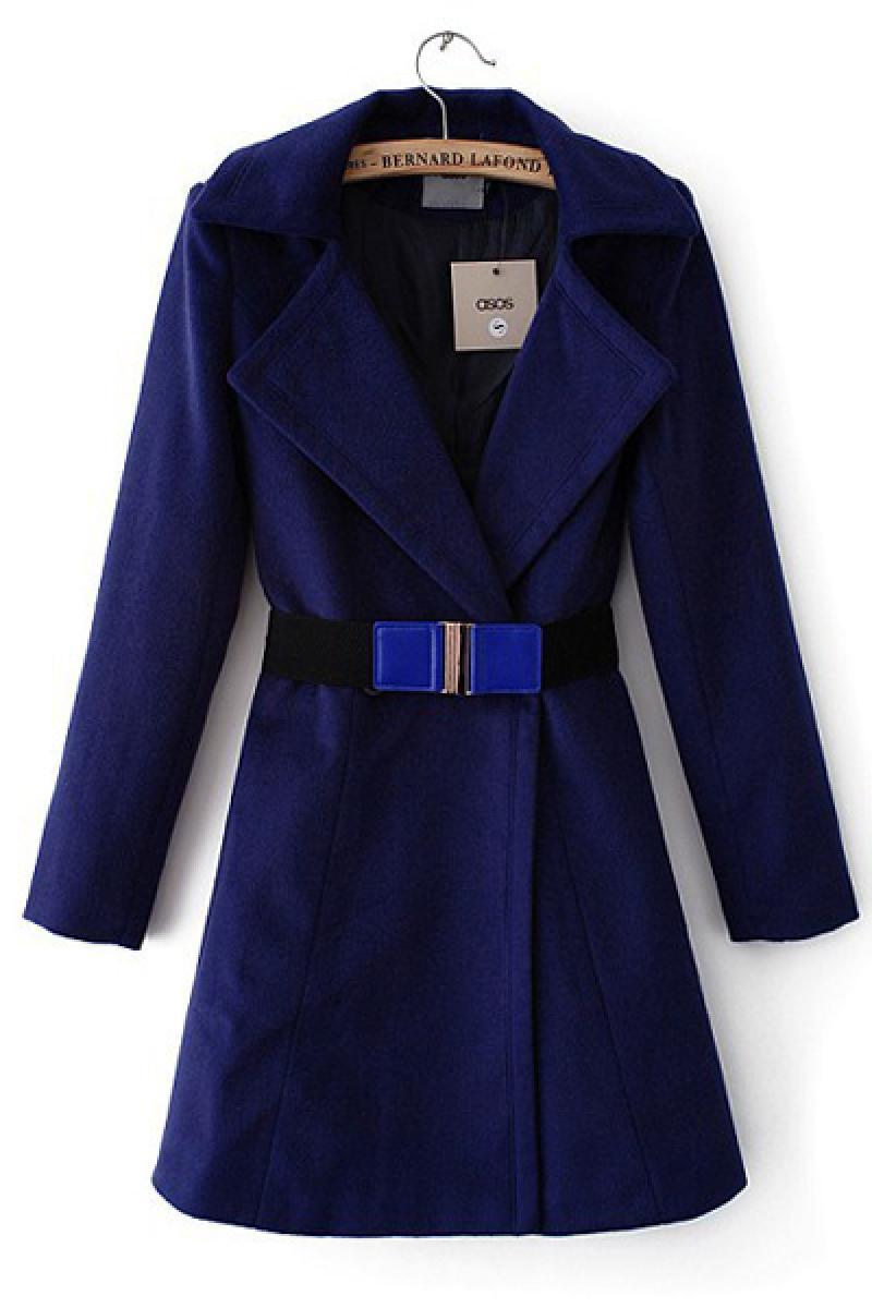Autumn & Winter New Section Slim Woolen Hem Lapel Overcoat,Cheap in Wendybox.com