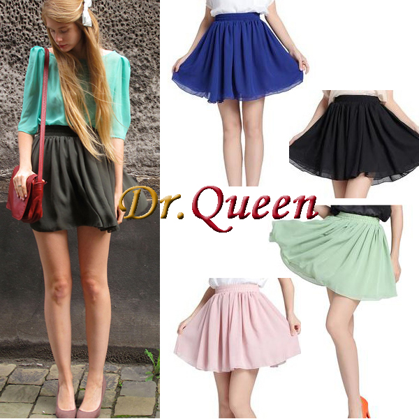 2012 Hot Retro High Waist Pleated Double Layer Chiffon Short Mini Pompon Dress | eBay