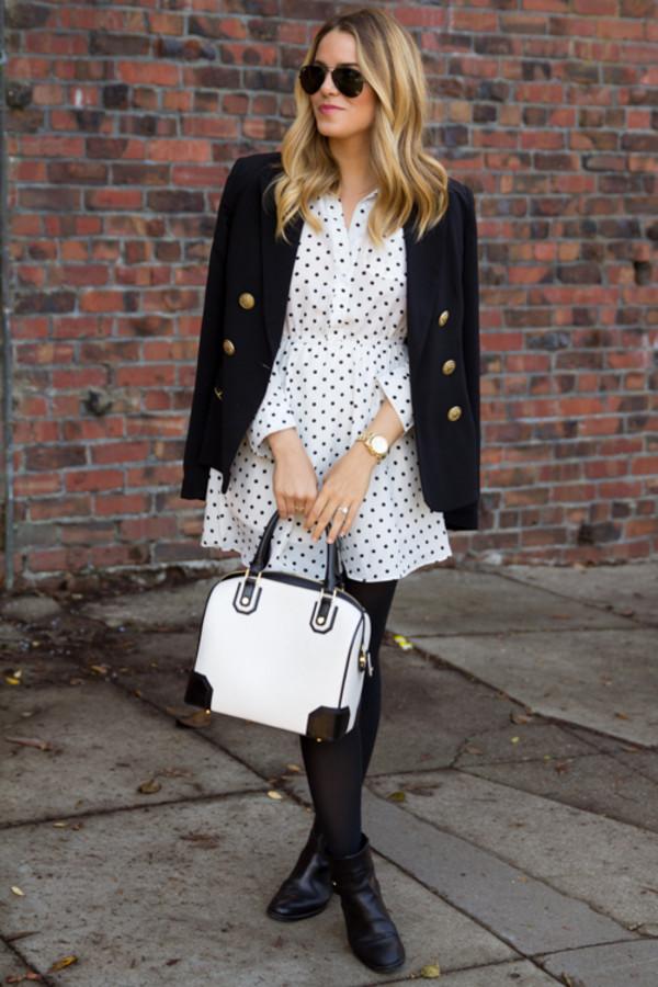 gal meets glam dress jacket shoes bag sunglasses jewels