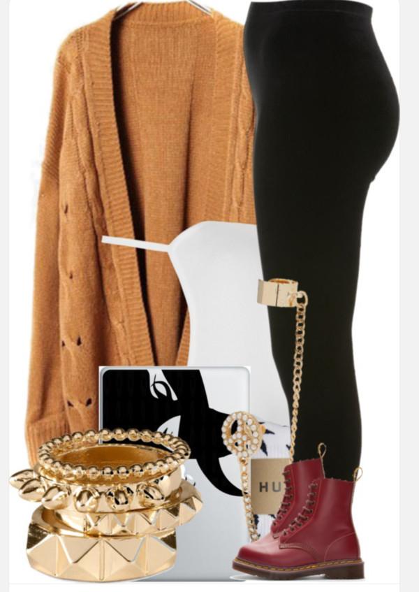 leggings oversized cardigan DrMartens maroon/burgundy mustard yellow shoes jewels lemongrass sweater tank top
