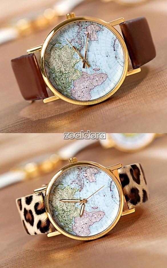 Women retro World Map Globe Fashion new Leather Alloy Analog Quartz watches Z00D | eBay