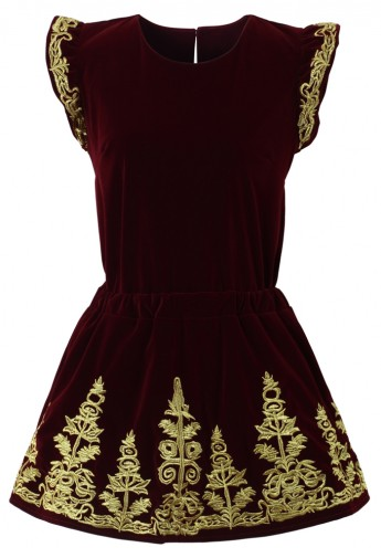 Golden Embroidery Velvet Top and Skirt Set in Wine - Retro, Indie and Unique Fashion