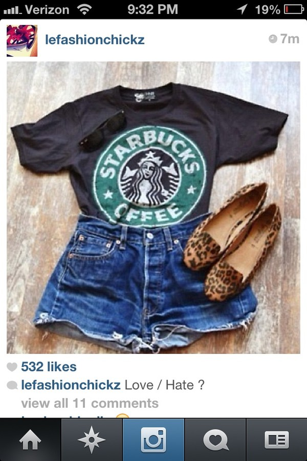 shirt starbucks coffee shoes