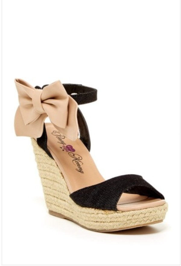 shoes wedges cute black neutral