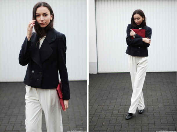 the fashion cuisine blogger wide-leg pants classy red bag pea coat