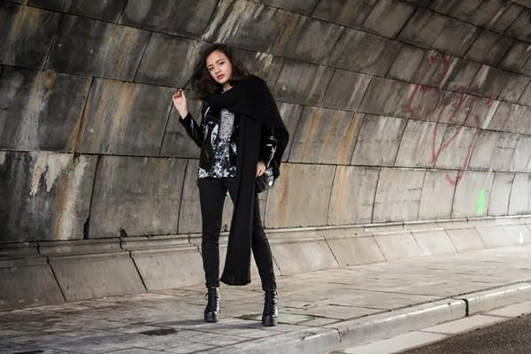 gladys doris dave jacket scarf blouse jeans shoes bag