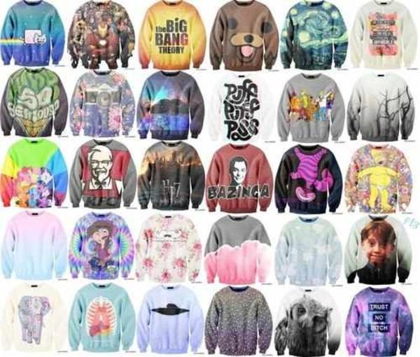 sweater sweatshirt so many sweaters everywhere van gough nyan cat colonel snaders bazinga big bang theory trust no bitch