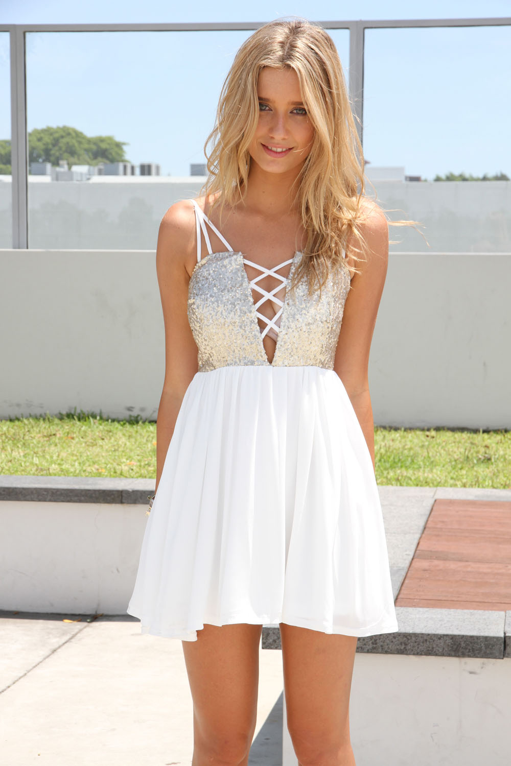 White Party Dress - White Sleeveless Dress with Sequin | UsTrendy
