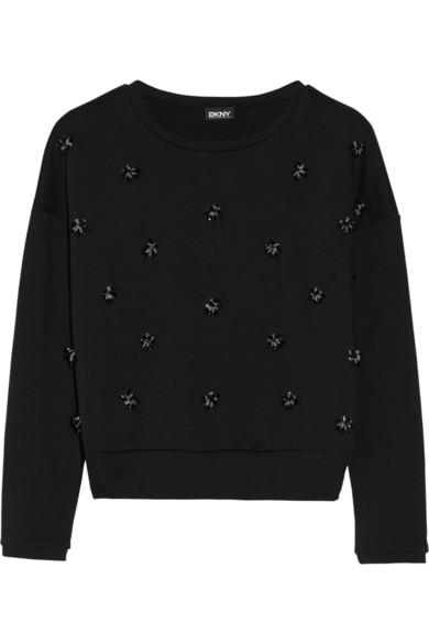 DKNY|Bead-embellished cotton-terry sweatshirt|NET-A-PORTER.COM