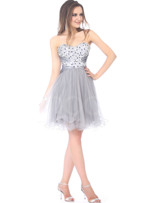 dress grey made of tulle sweetheart dress