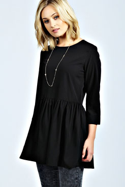 Kaylee Oversized Long Sleeve Dip Hem Peplum at boohoo.com