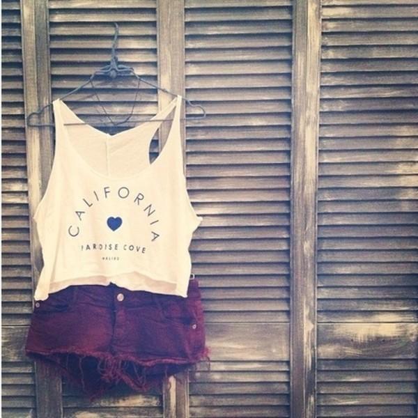 t-shirt california tank top shorts shirt crop tops top tank top white tank top white vest hipster