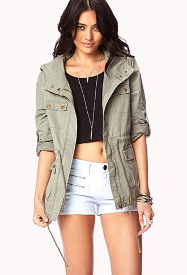coat olive green army green jacket shorts