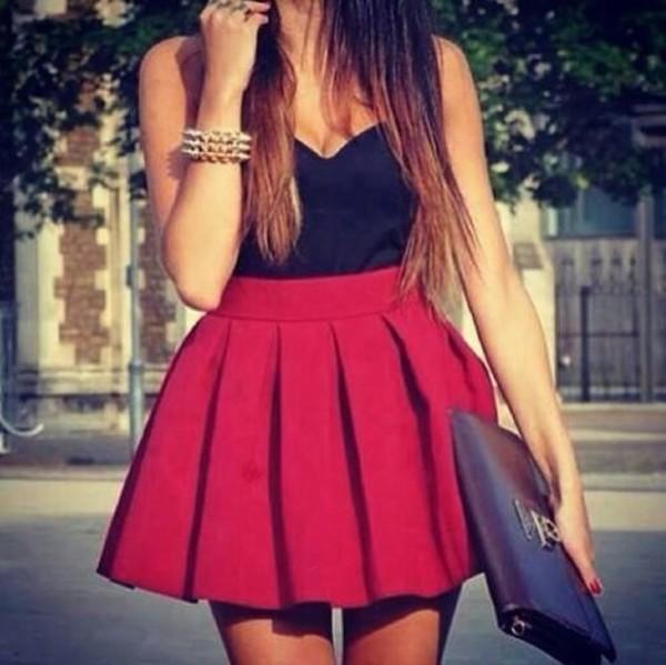 skirt ref skirt red bag jewels red mini skirt dress red dress black cute crop tops shirt scarf pleated skirt red skater skirt tank top red skirt skater skirt bustier top