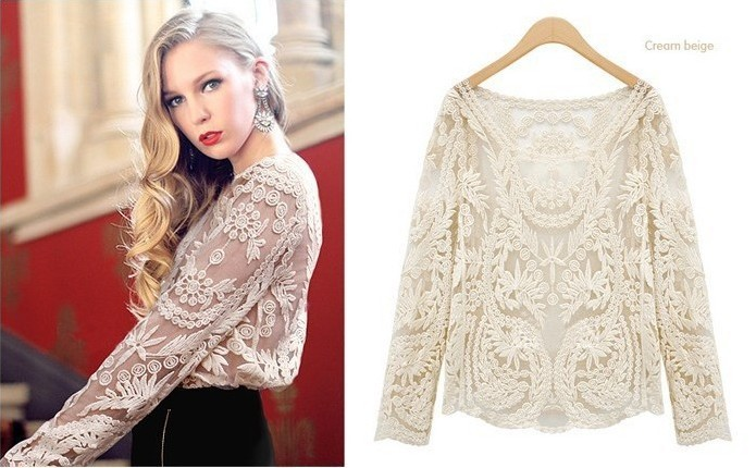 Fashion Sexy Women Sheer Sleeve Embroidery Shirt Blouse Floral Lace Crochet Tee T Shirt Tops Plus Size free shippingWD112201-in Blouses & Shirts from Apparel & Accessories on Aliexpress.com