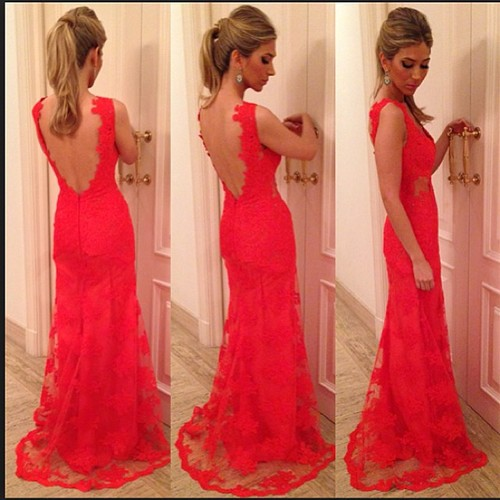 Best Selling See Through Nude Back Red Lace Evening Dresses 2014 New Arrival vestido de festa long-in Evening Dresses from Apparel & Accessories on Aliexpress.com