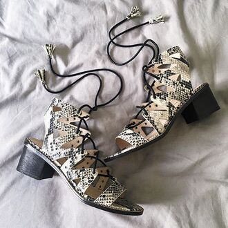 shoes nastygal heels sandals strappy lace up snake skin python open toes shellys london snake fashion style trendy