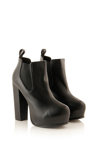Black PU Platform Chelsea Boot at Fashion Union