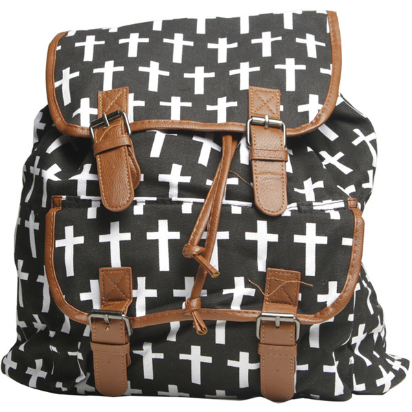 Cross Print Double Buckle Backpack - Wet Seal - Polyvore