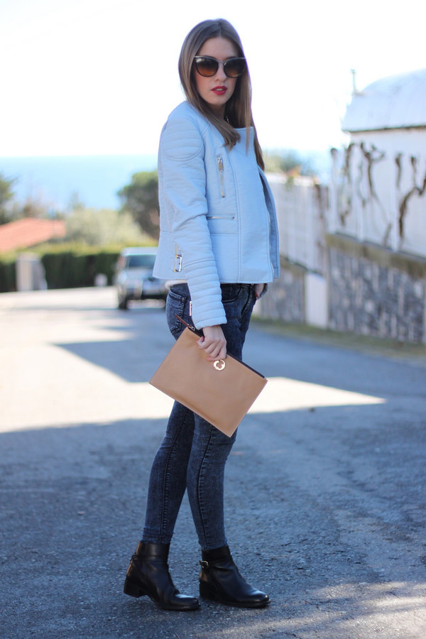 say queen jacket sunglasses bag jeans shoes