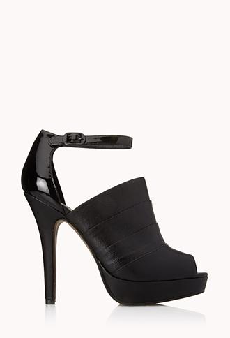Paneled Peep-Toe Heels | FOREVER21 - 2000076438