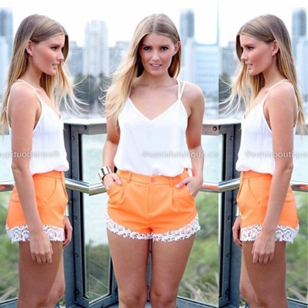 shorts orange lace summer orange shorts High waisted shorts lace shorts