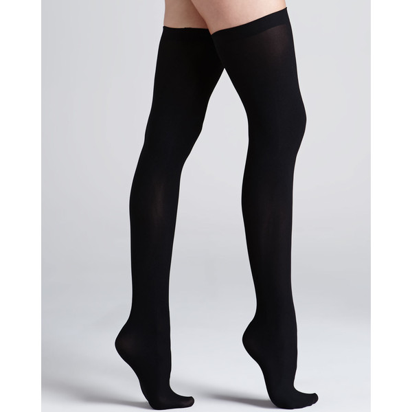 Commando Up All Night Opaque Thigh Highs, Black - Polyvore